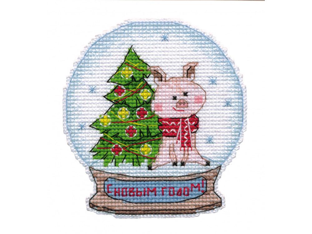 Купить Вышивка крестом, Набор для вышивания «Магнит. Снежный шар», Овен, 9, 1x9, 8 см, 1112
