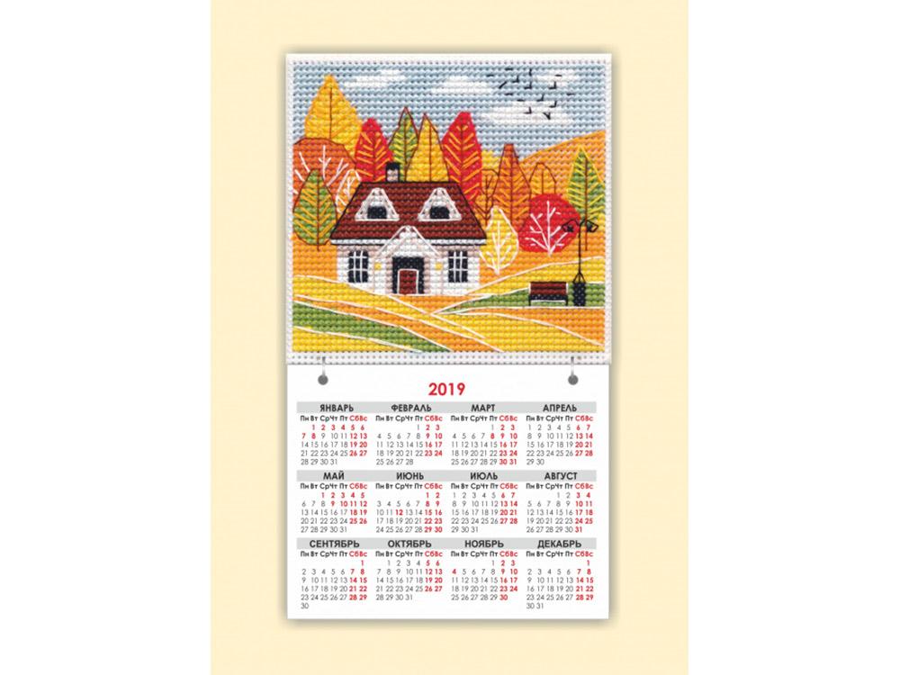 Купить Вышивка крестом, Набор для вышивания «Магнит. Времена года. Осень», Овен, общий: 9, 5x16, 5 см, вышивка: 9, 5x9, 1114