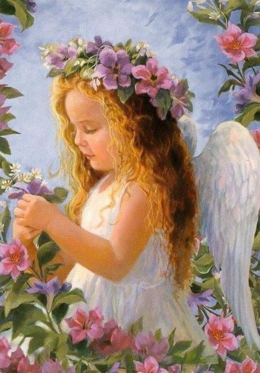 Купить Алмазная вышивка «Ангел с цветами», Алмазное Хобби, Россия, 30x40 см, Ah00161