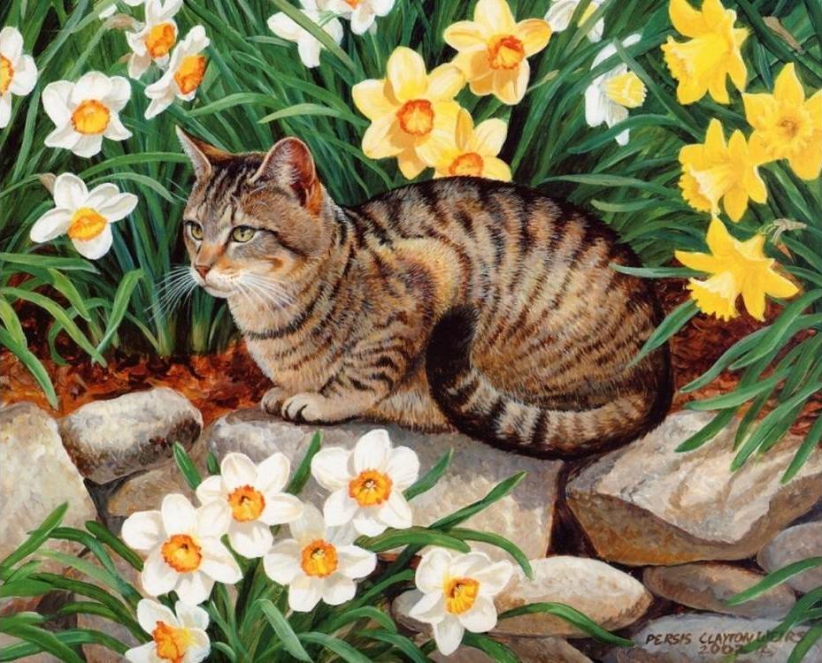 Купить Алмазная вышивка «Кот и цветы», Алмазное Хобби, Россия, 40x50 см, Ah0524