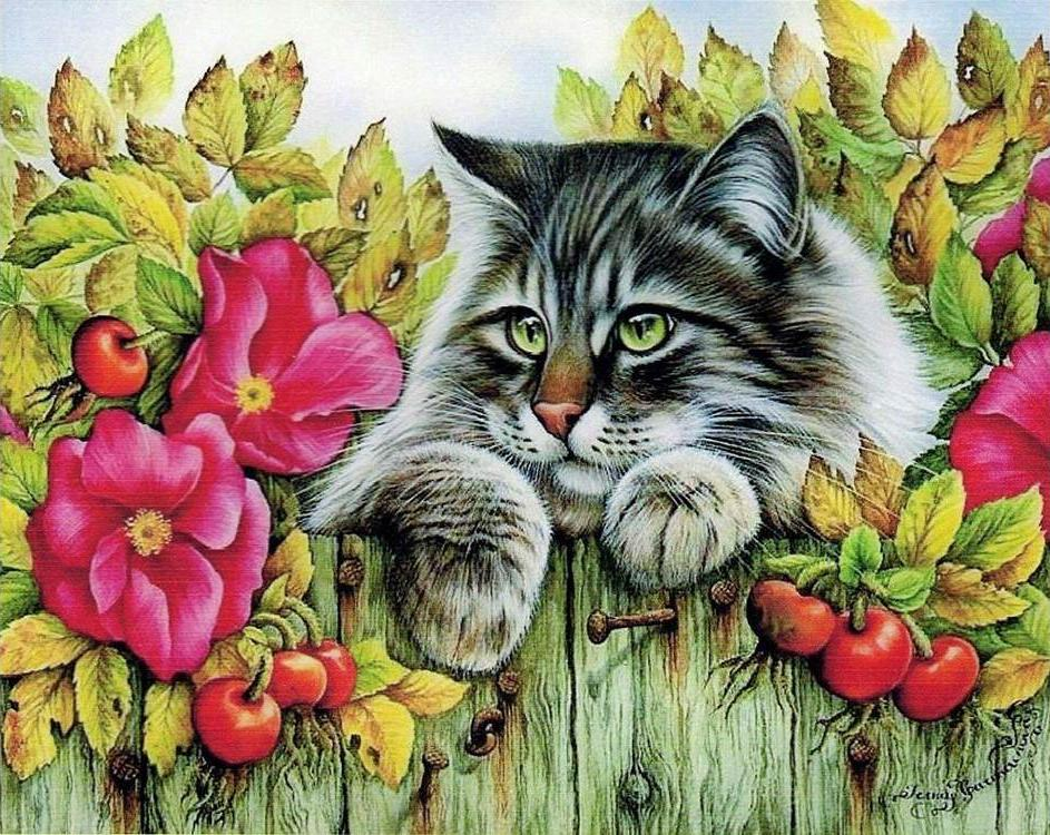 Купить Алмазная вышивка «Кот на заборе», Алмазное Хобби, Россия, 40x50 см, Ah05761