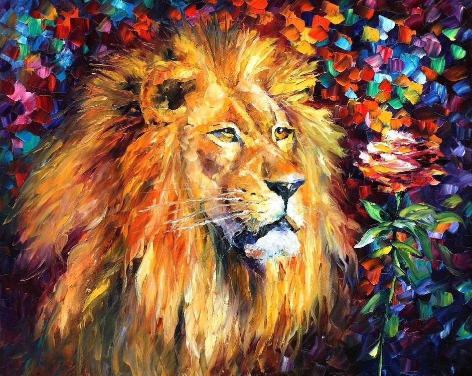 Купить Алмазная вышивка «Лев и роза», Алмазное Хобби, Россия, 40x50 см, Ah0970