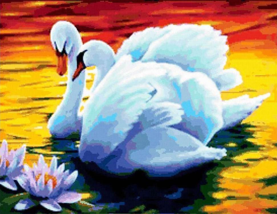Купить Алмазная вышивка «Лебеди», Алмазное Хобби, Россия, 30x40 см, Ah26001