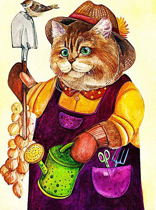 Купить Алмазная вышивка «Кот дачник», Алмазное Хобби, Россия, 40x60 см, Ah5232
