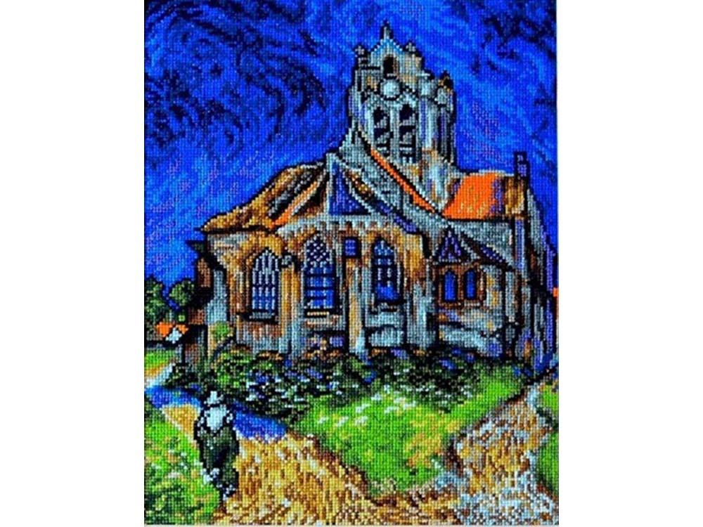 Купить Вышивка крестом, Набор для вышивания «Церковь в Овере» Ван Гога, Палитра, 20x27 см, 07.019