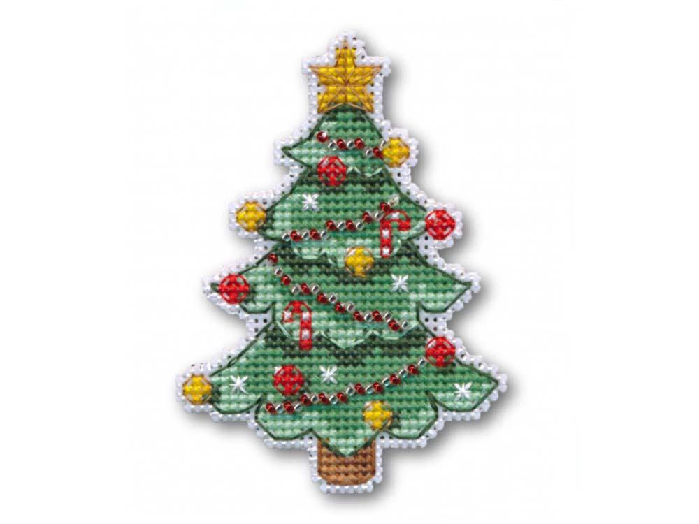 Купить Вышивка крестом, Набор для вышивания «Магнит. Новогодняя елочка», Овен, 7x9, 6 см, 1128