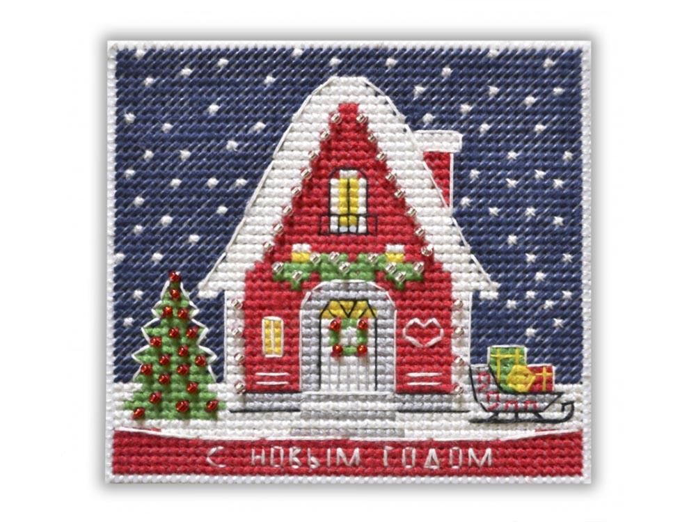 Купить Вышивка крестом, Набор для вышивания «Магнит. Новогодний домик», Овен, 9, 5x8, 7 см, 1129