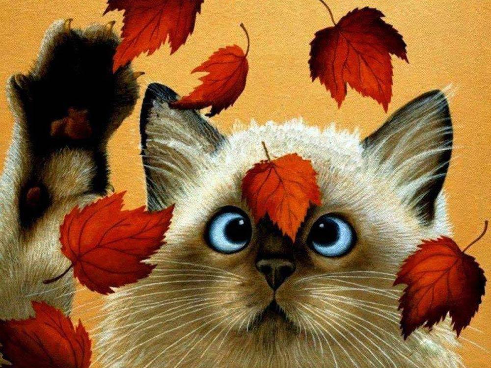 Купить Алмазная вышивка «Кот и осенние листья», Алмазное Хобби, Россия, 30x40 см, Ah05491