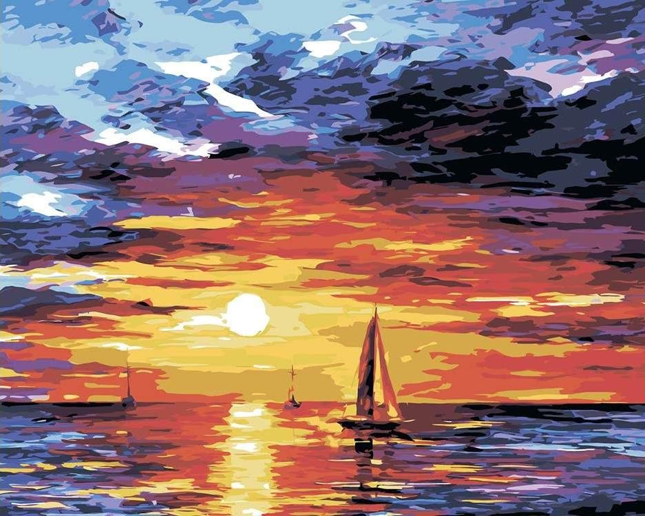Купить Картина по номерам «Паруса на закате», Живопись по Номерам, Китай, LA19
