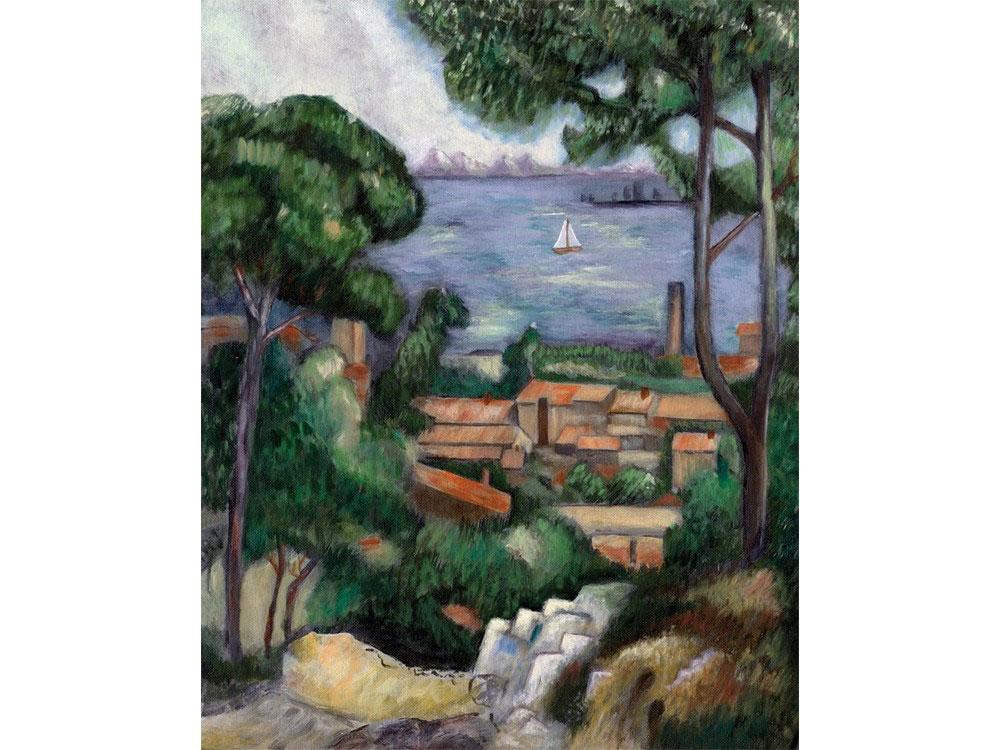 Купить Картина по контурам гризайль «Вид на Эстак», Royal&Langnickel, 28x35 см, POM-SET 10