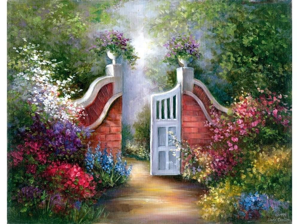 Купить Картина по контурам гризайль «Садовые ворота», Royal&Langnickel, 28x35 см, POM-SET 12