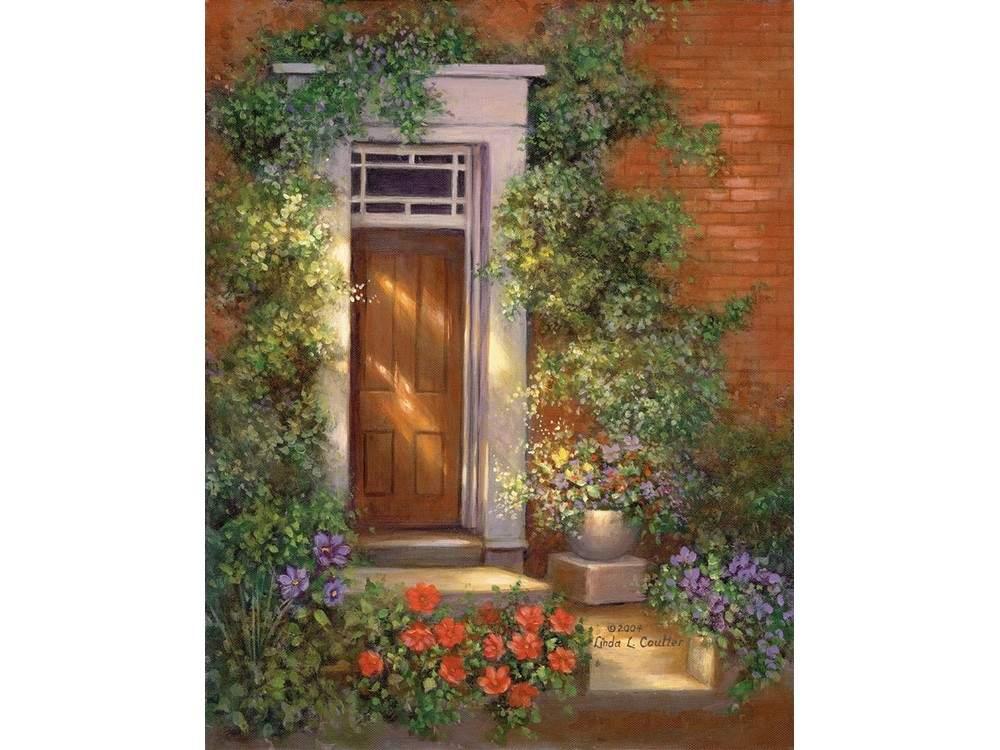 Купить Картина по контурам гризайль «Улица роз», Royal&Langnickel, 28x35 см, POM-SET 02