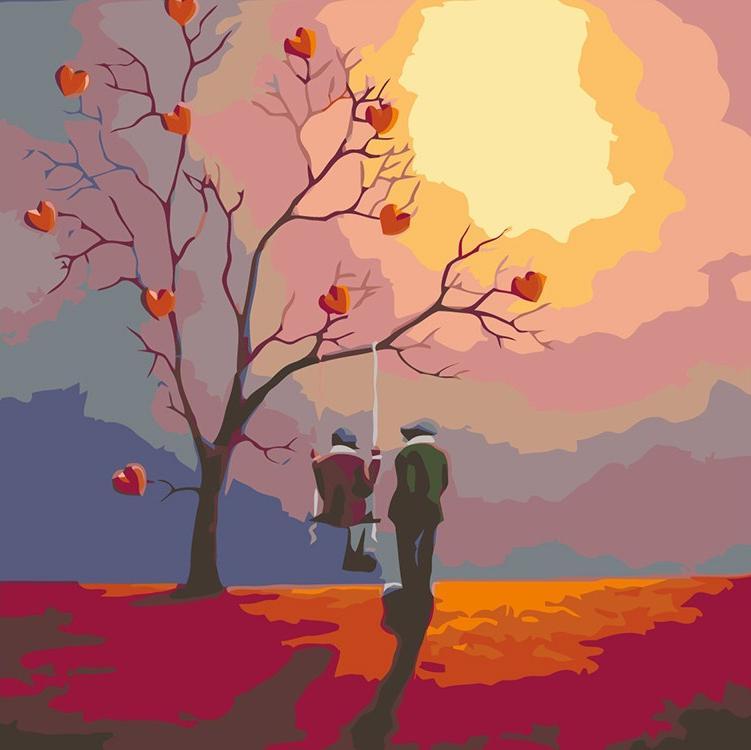 Купить Картина по номерам «Свидание на закате», Живопись по Номерам, Китай, RA064
