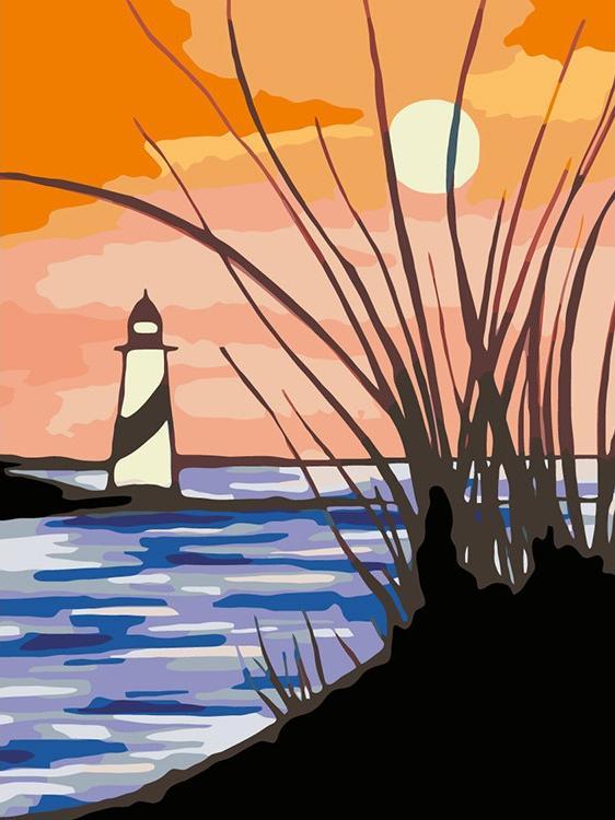 Купить Картина по номерам «Маяк на закате», Живопись по Номерам, Китай, RA085
