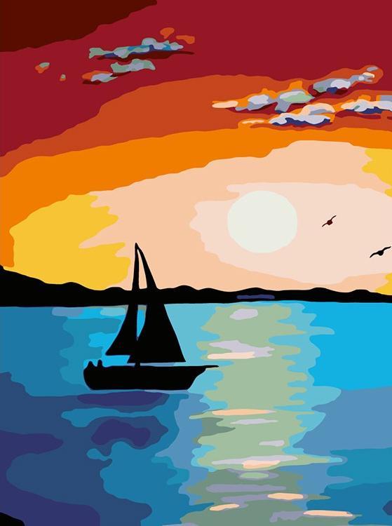 Купить Картина по номерам «Море на закате», Живопись по Номерам, Китай, RA087