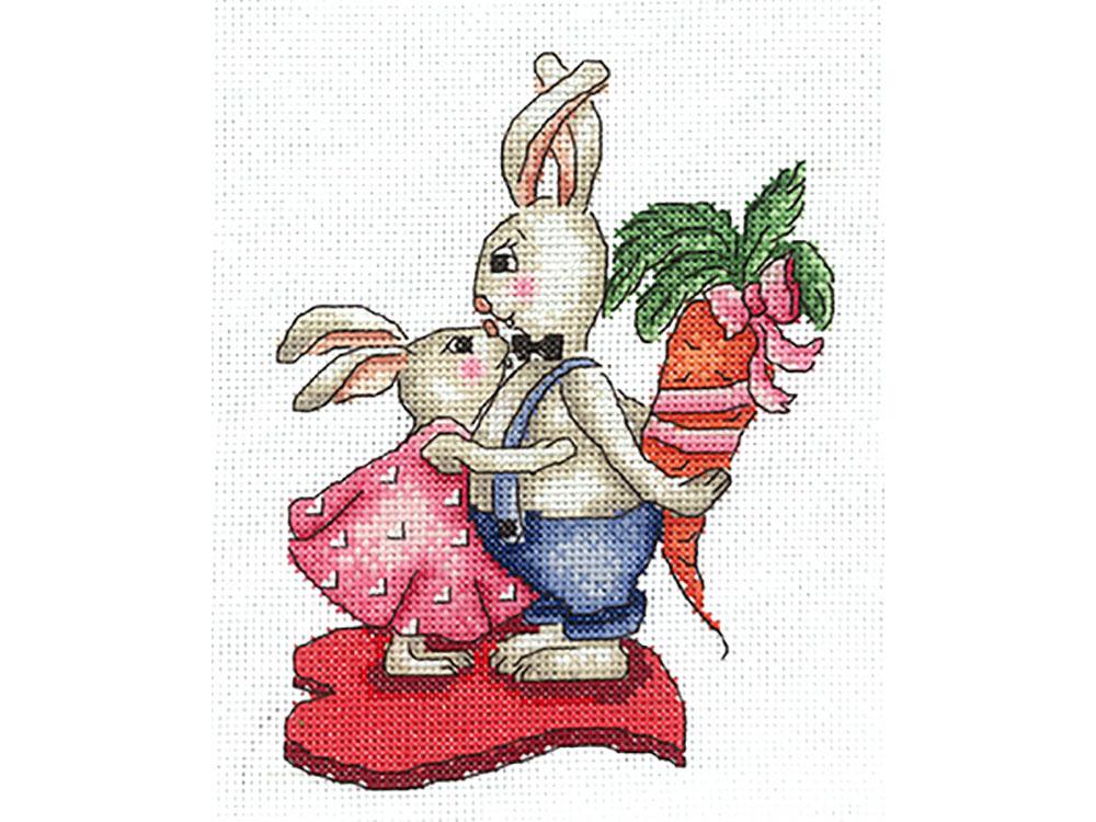 Купить Вышивка крестом, Набор для вышивания «Зайки. Любовь-морковь», Сделай своими руками, 12x16 см, З-38