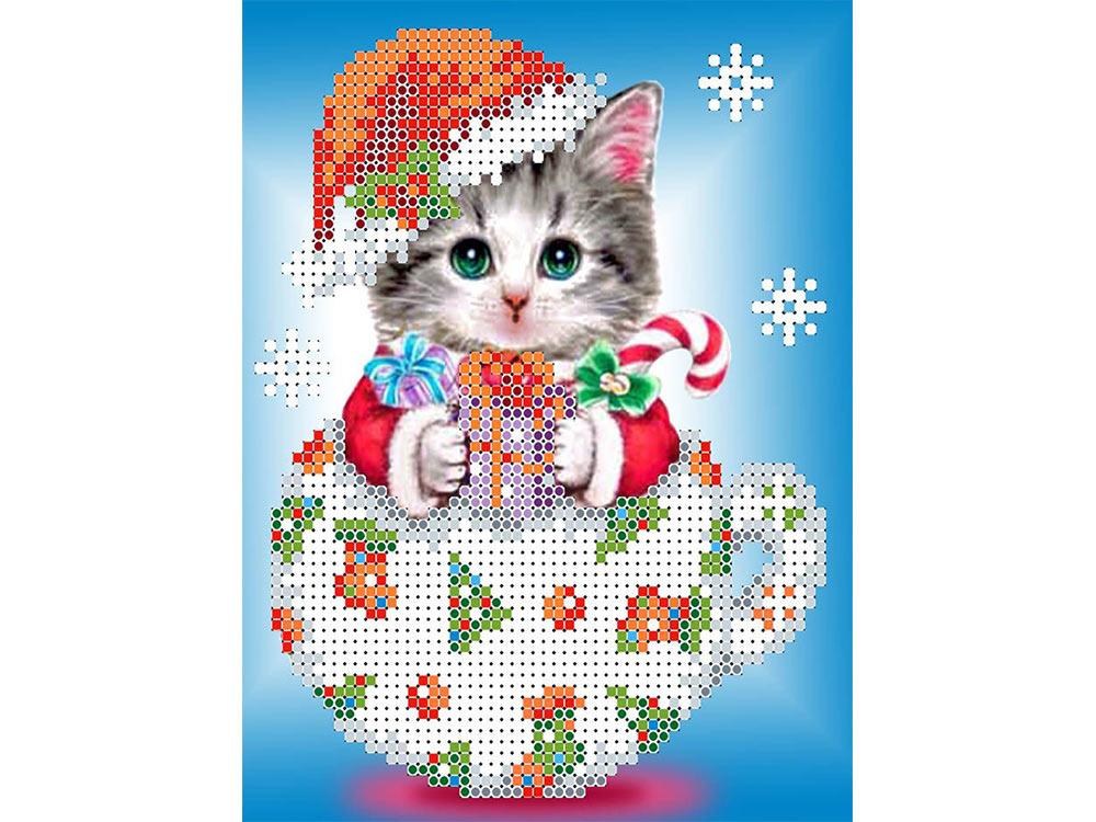 Купить Вышивка бисером, Набор вышивки бисером «Снежок», Каролинка, 12, 5x15, 9 см, КБЖН(Ч) 5021