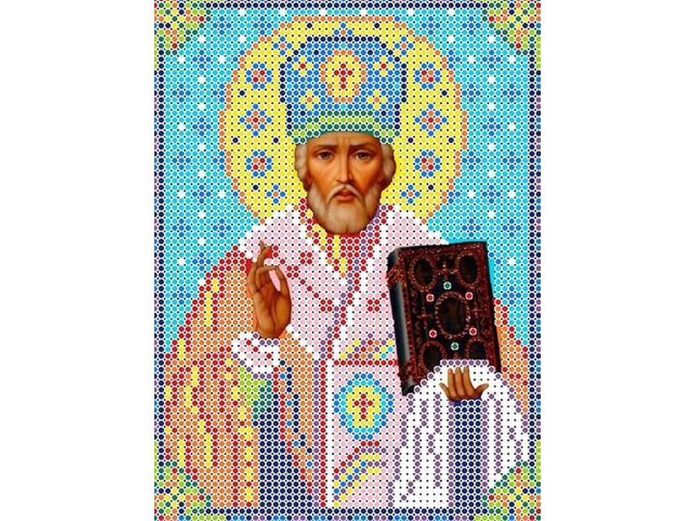 Купить Вышивка бисером, Набор вышивки бисером «Святой Николай Чудотворец», Каролинка, 13x17 см, КБИН 5025