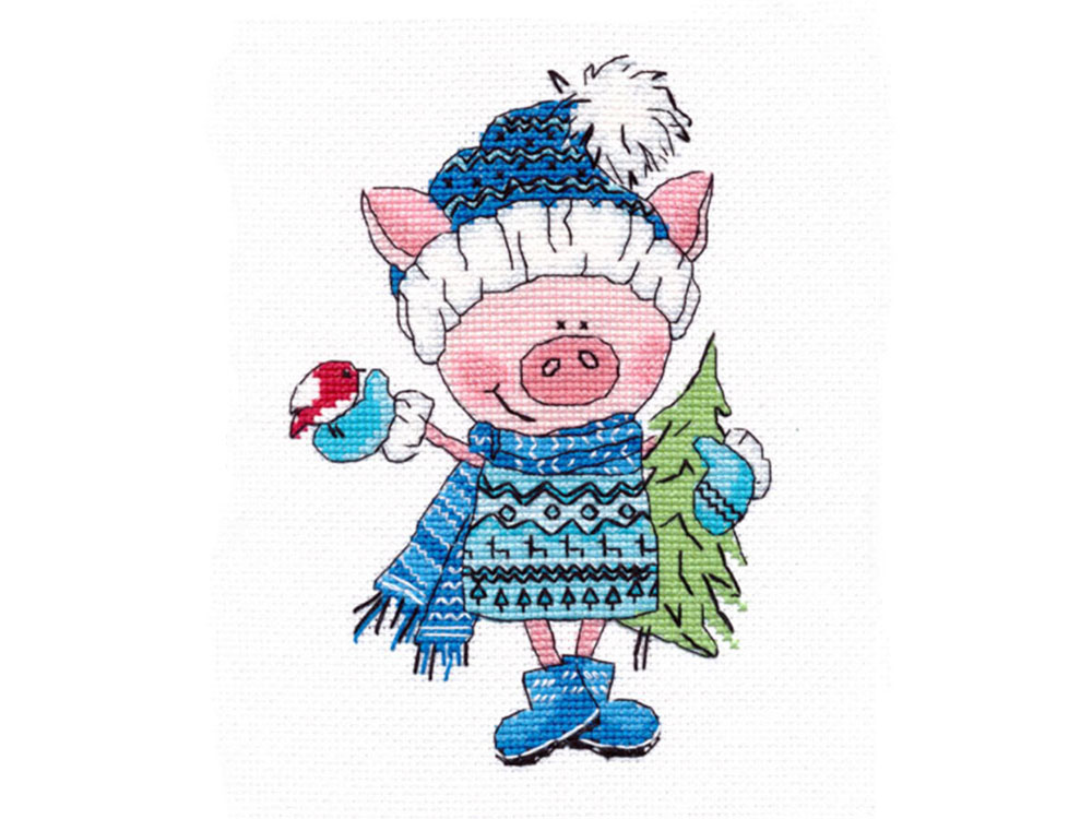 Купить Вышивка крестом, Набор для вышивания «Хрюша с ёлочкой», Овен, 12x17 см, 1130