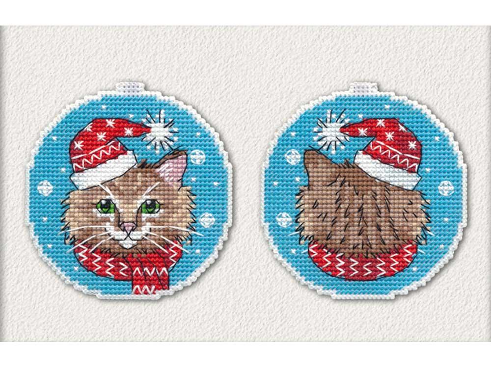 Купить Вышивка крестом, Набор для вышивания «Новогодний кот», Овен, 8, 4x8, 8 см (2 шт.), 1136