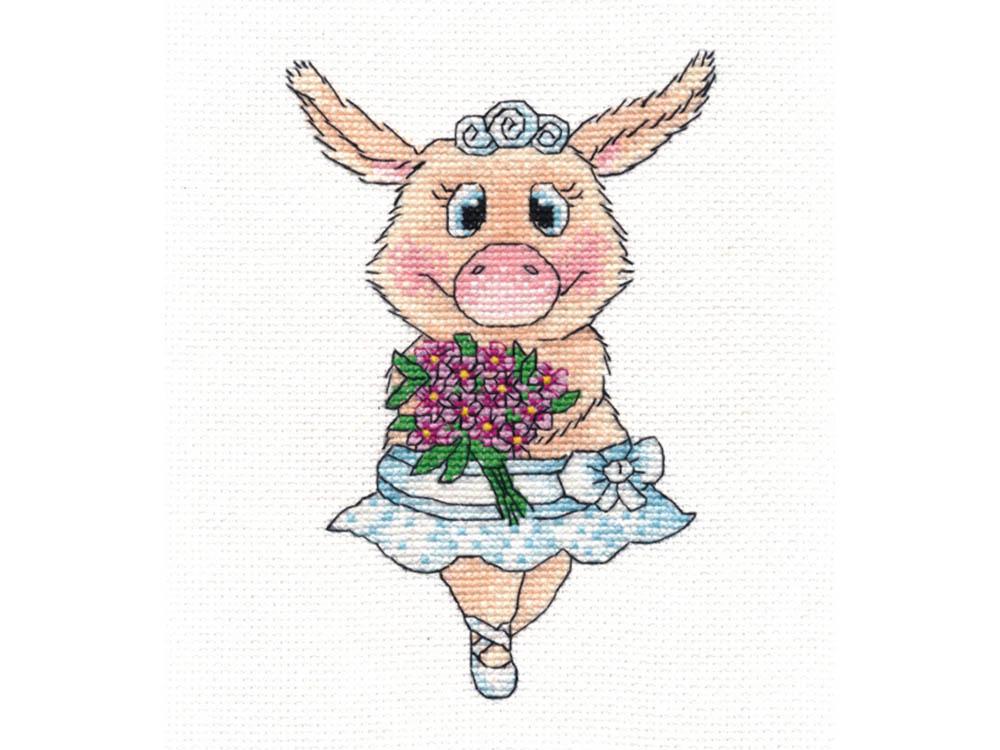 Вышивка крестом, Набор для вышивания «Свинка-балерина», Овен, 11x16 см, 1138  - купить со скидкой