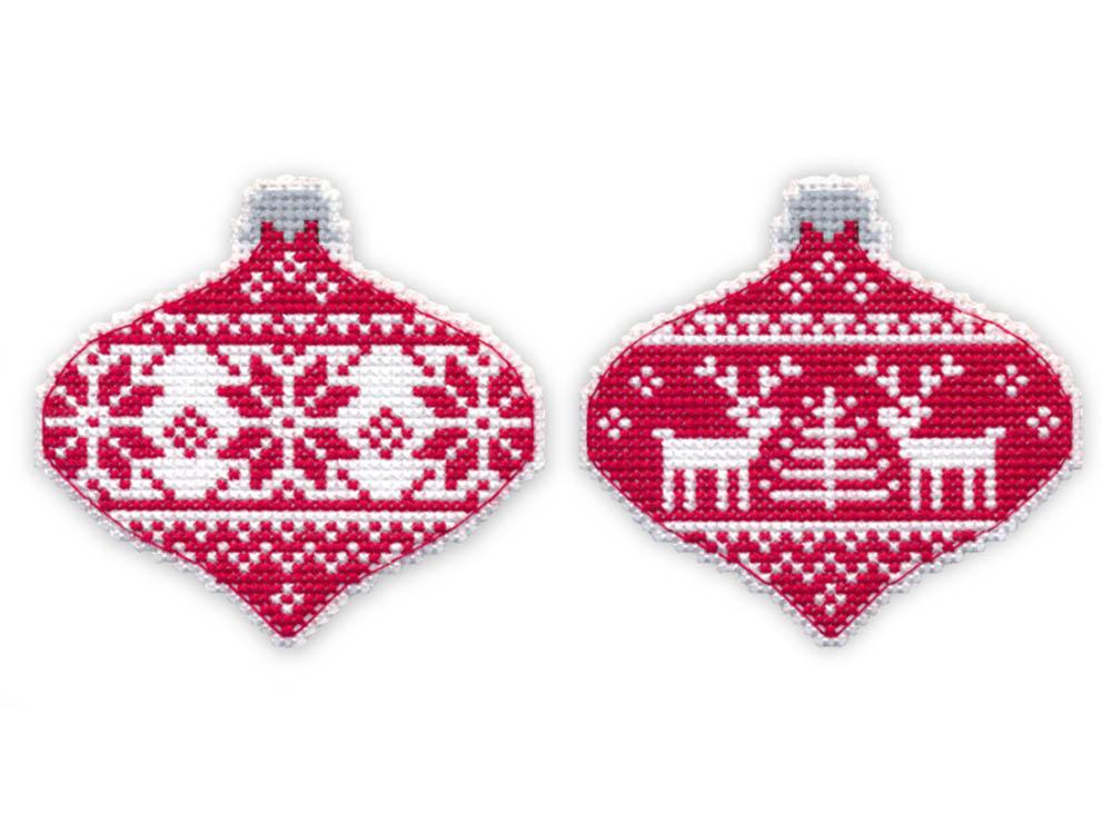 Вышивка крестом, Набор для вышивания «Скандинавия. Елочная игрушка», Овен, 8, 5x8 см (2 шт.), 1139  - купить со скидкой