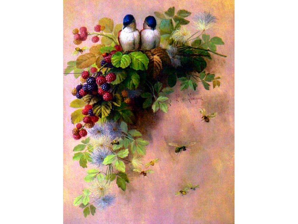 Купить Вышивка бисером, Набор вышивки бисером «Милые птички», Color KIT, 23x30 см, 595