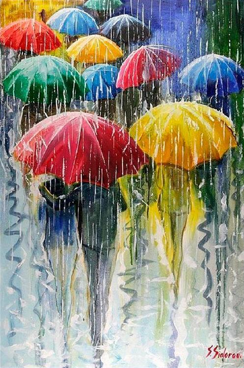 Купить Алмазная вышивка «Зонтики», Алмазное Хобби, Россия, 40x60 см, Ah0318