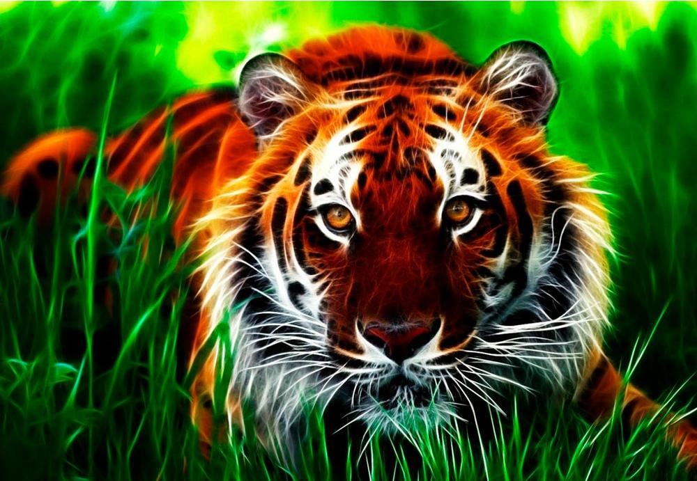 Купить Алмазная вышивка «Тигр в траве», Алмазное Хобби, Россия, 40x60 см, Ah09831