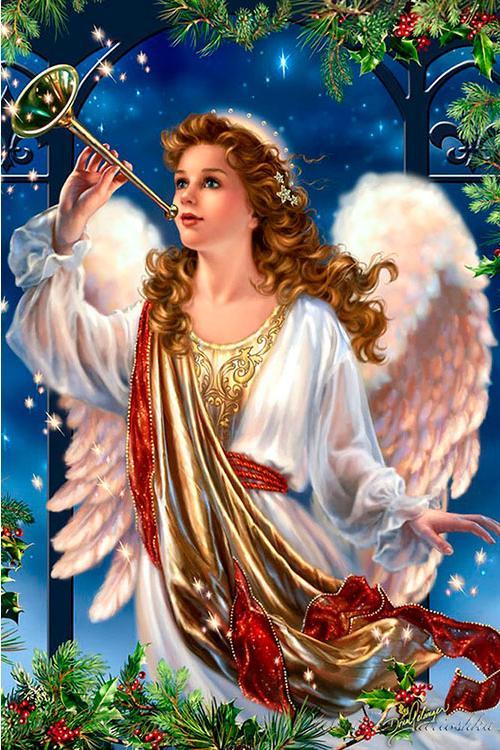 Купить Алмазная вышивка «Рождественский ангел», Алмазное Хобби, Россия, 40x60 см, Ah19571