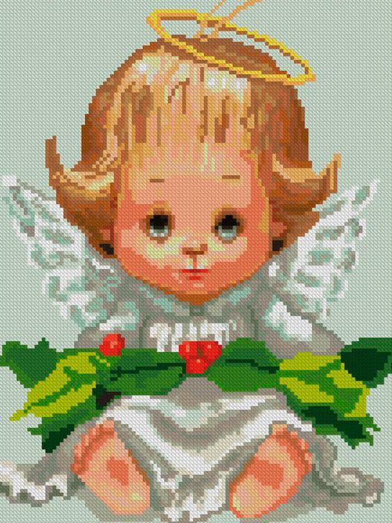 Купить Алмазная вышивка «Ангелок с венком», Алмазное Хобби, Россия, 30x40 см, Ah50461