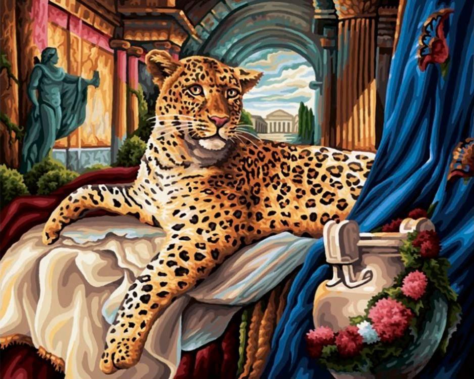 Купить Алмазная вышивка «Леопард», Алмазное Хобби, Россия, 40x50 см, Ah5134