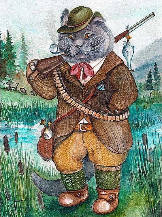Купить Алмазная вышивка «Кот охотник», Алмазное Хобби, Россия, 40x60 см, Ah5239