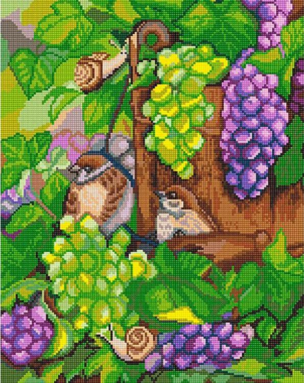 Купить Алмазная вышивка «Воробьи в винограде», Алмазное Хобби, Россия, 40x50 см, Ah5249
