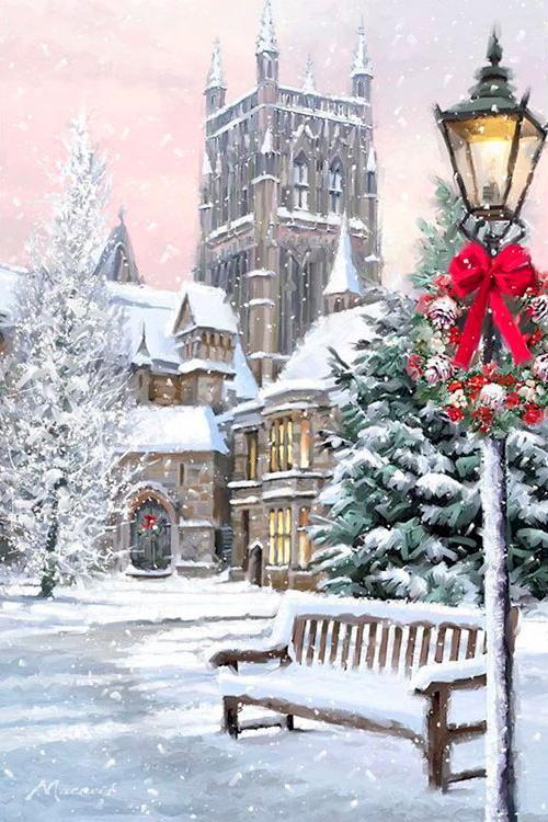 Купить Алмазная вышивка «Рождественский Париж», Алмазное Хобби, Россия, 40x60 см, Ah5254