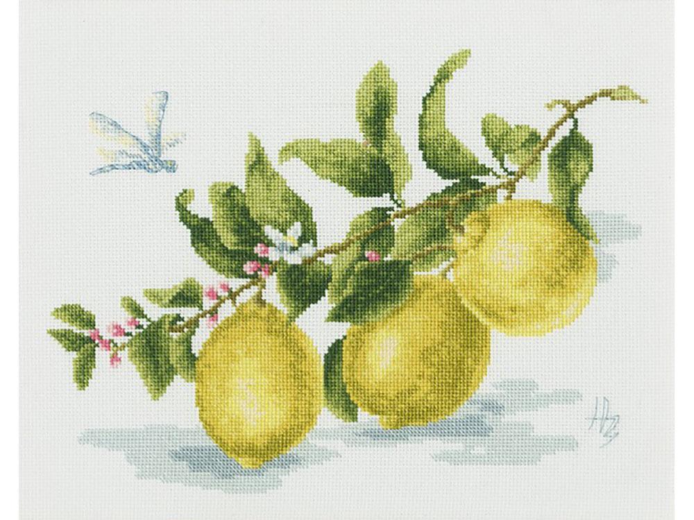 Купить Вышивка крестом, Набор для вышивания «Веточка лимона», Золотое Руно, 18x24 см, ФС-006
