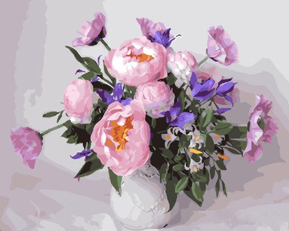 Купить Картина по номерам «Пионы в вазе», Paintboy (Premium), Китай, GX25805