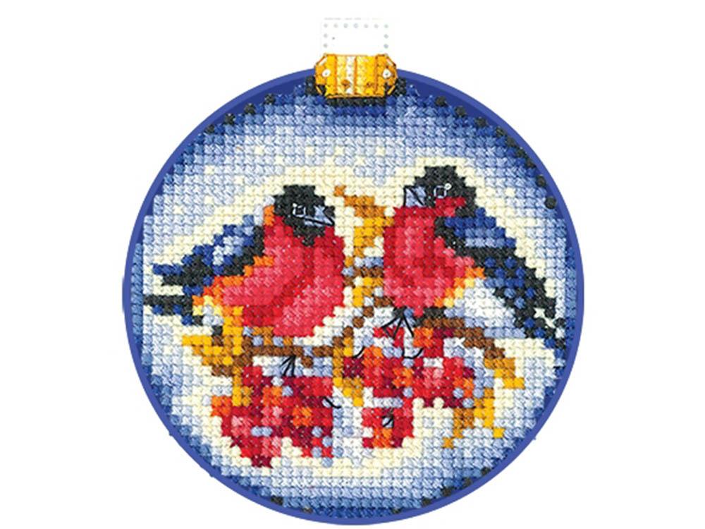 Купить Вышивка крестом, Набор для вышивания «Новогодние шары. Снегири», Сделай своими руками, 8x8 см, Н-24