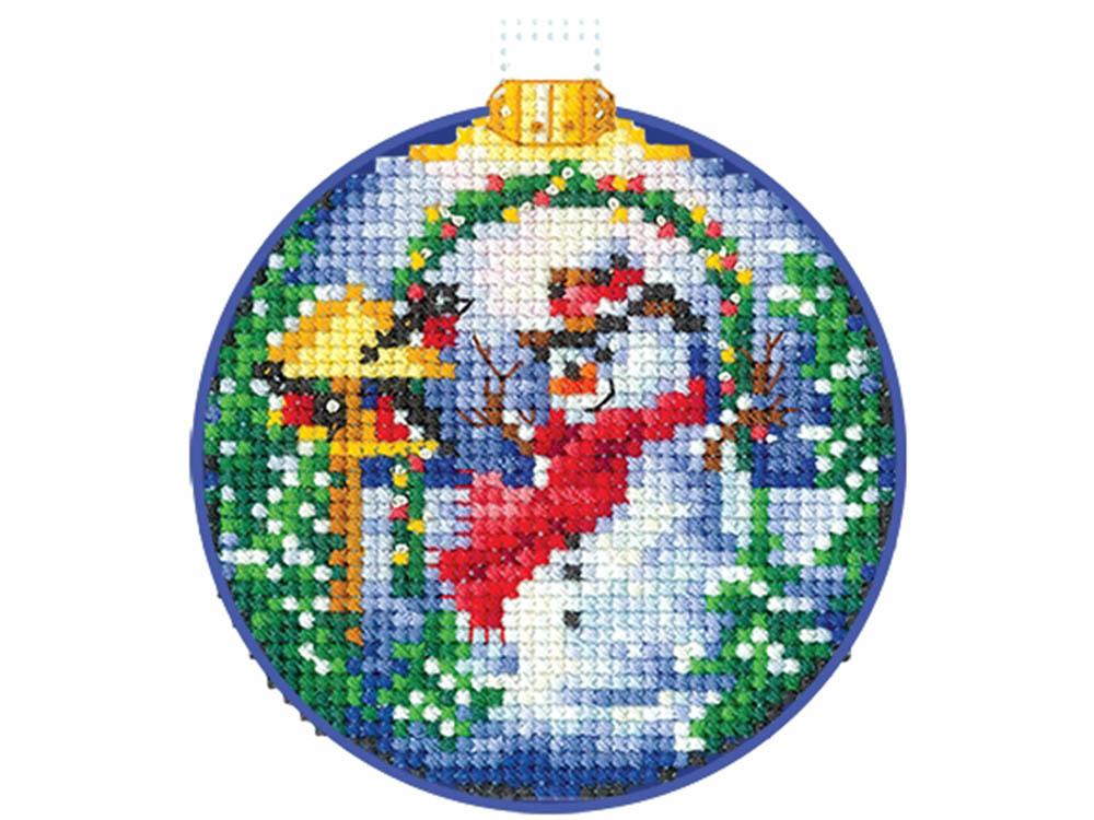 Купить Вышивка крестом, Набор для вышивания «Новогодние шары. Снеговик», Сделай своими руками, 8x8 см, Н-25