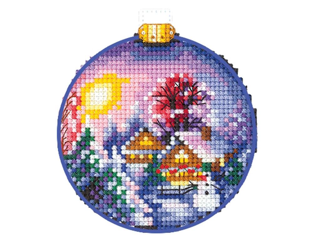 Вышивка крестом, Набор для вышивания «Новогодние шары. Зимний пейзаж», Сделай своими руками, 8x8 см, Н-27  - купить со скидкой