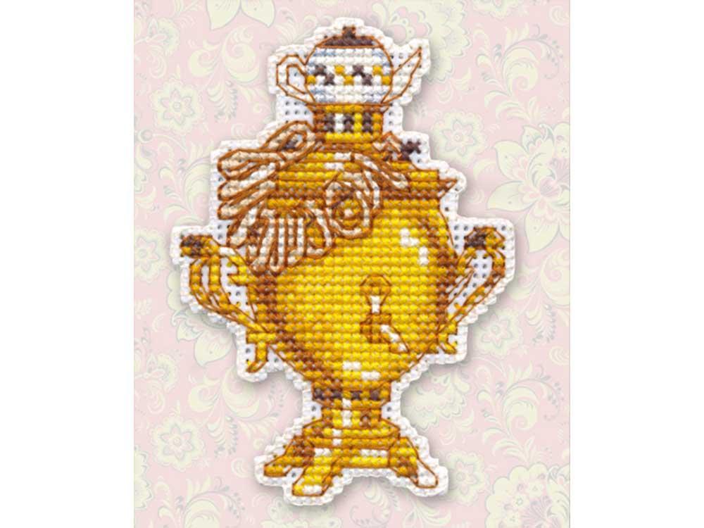 Купить Вышивка крестом, Набор для вышивания «Магнит. Самовар», Овен, 6, 5x9, 2 см, 1151