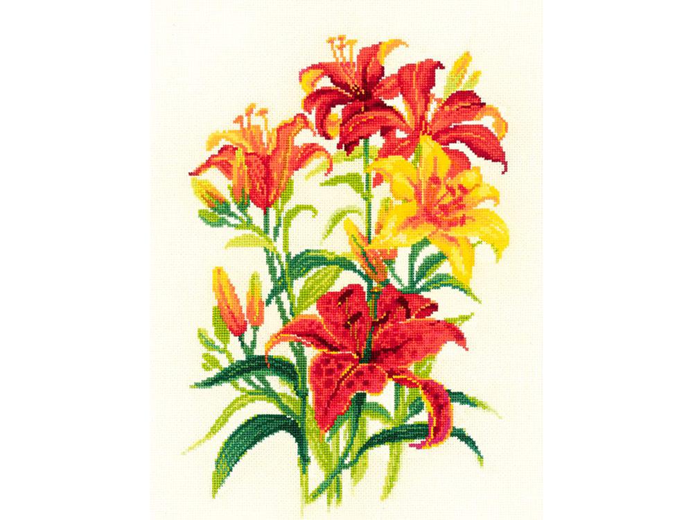 Купить Вышивка крестом, Набор для вышивания «Солнечные лилии», Риолис (Сотвори Сама), 25x33 см, 1782