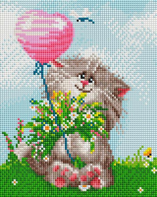 Купить Алмазная вышивка «Кот с букетом», Белоснежка, 20x25 см, 424-ST-PS