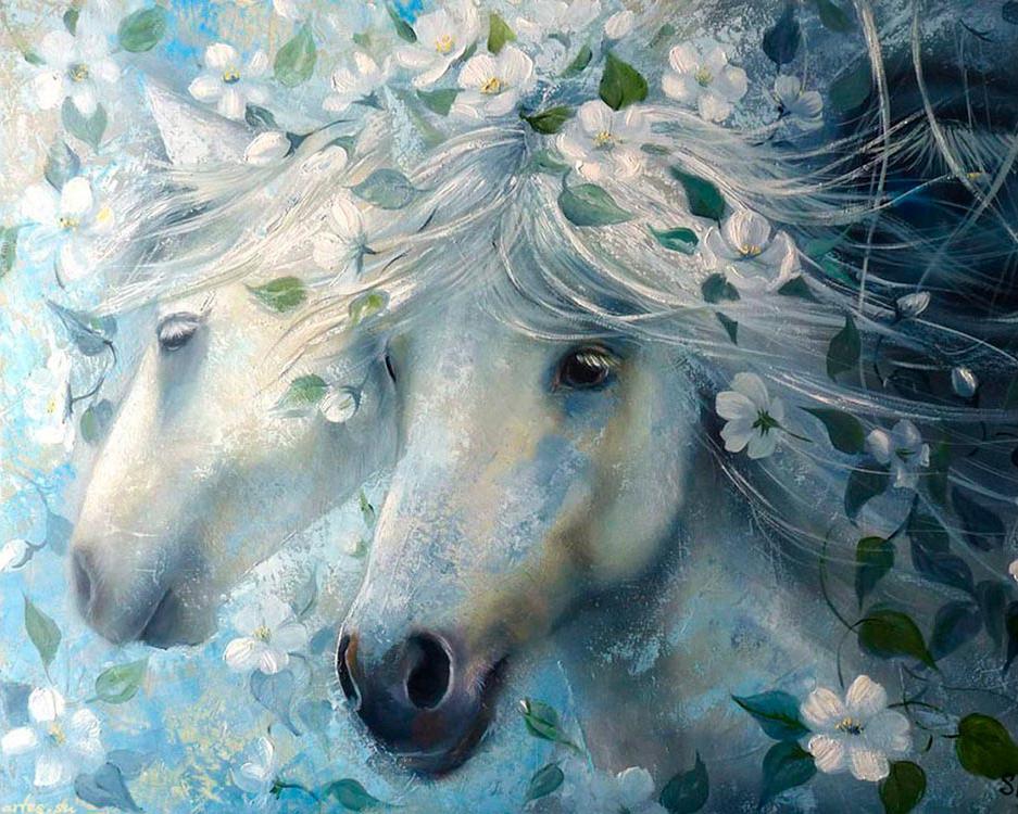 Купить Алмазная вышивка «Лошади в цветах», Алмазное Хобби, Россия, 40x50 см, Ah07361