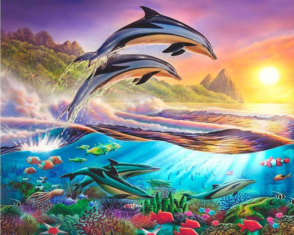 Купить Алмазная вышивка «Дельфины», Алмазное Хобби, Россия, 40x50 см, Ah08011