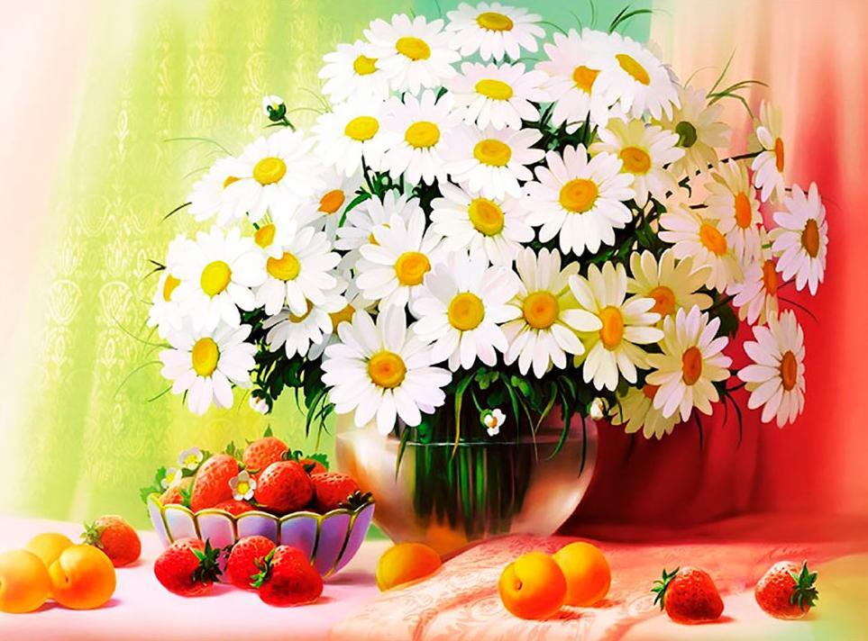 Цветов, с днем рождения букет ромашек