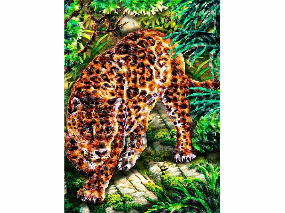Купить Вышивка бисером, Набор вышивки бисером «В джунглях», Паутинка, 38x28 см, Б-1491