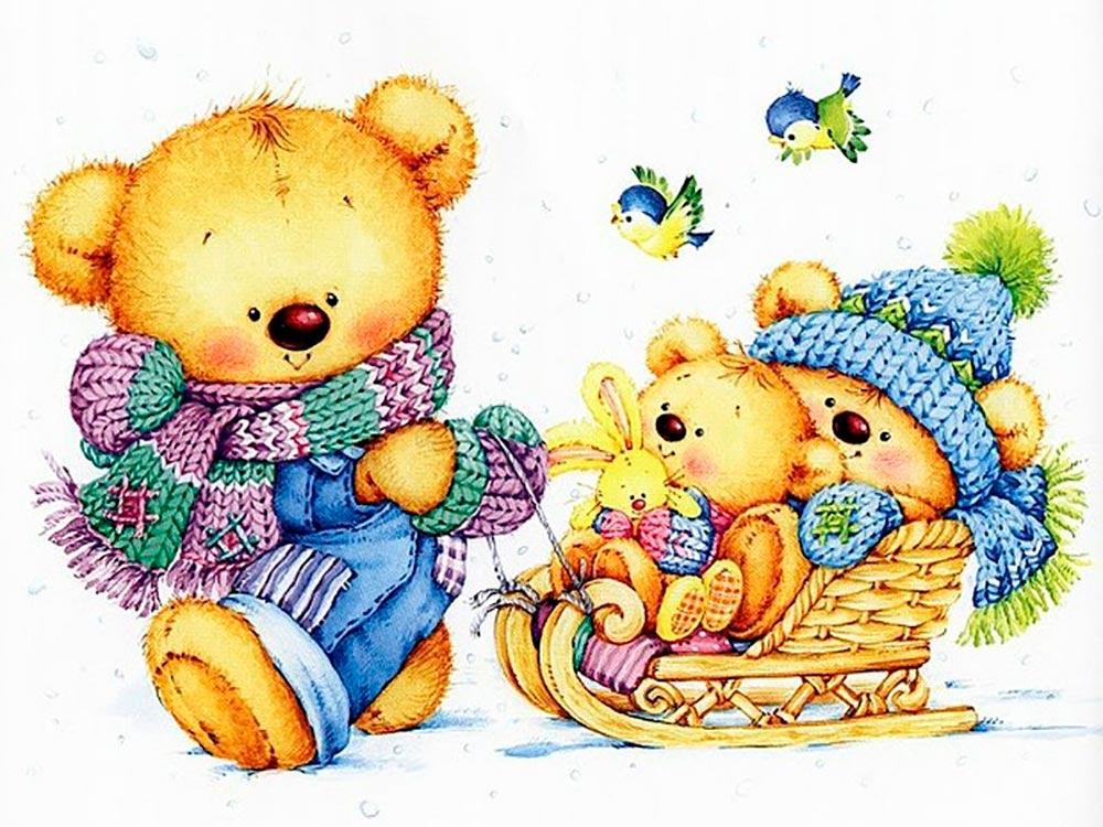 Рисунки мишек для открыток, рождением сына