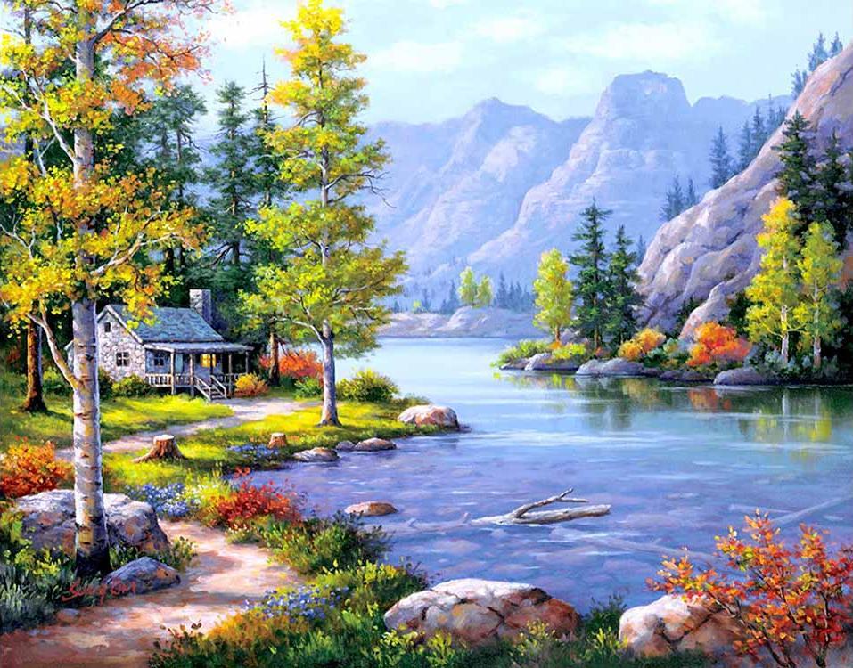 Купить Алмазная вышивка «Домик у горного озера», Цветной, 40x50 см, LG107