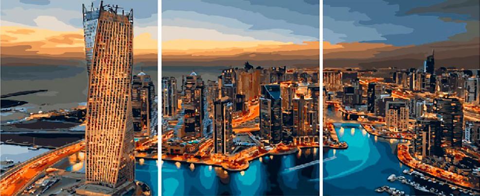 Купить Картина по номерам «Вечер над городом», Paintboy (Premium), Китай, 3 шт. 40x50 см, PX5226